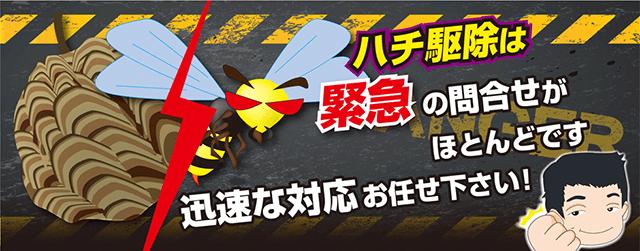 ハチ駆除は緊急の問い合わせがほとんどです。迅速な対応はお任せ下さい!