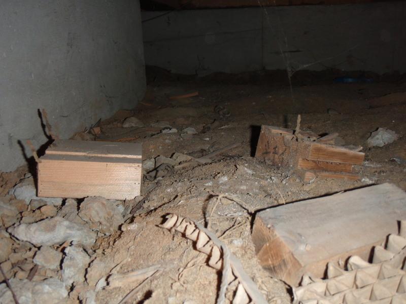 床下 ゴミ 木切れ