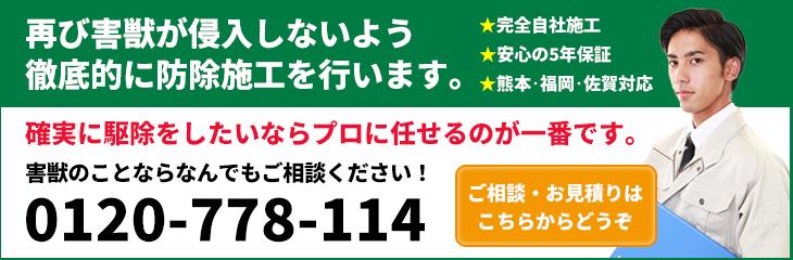 熊本・福岡・佐賀対応!再び害獣が侵入しないよう徹底的に防除施工を行います。0120-778-114