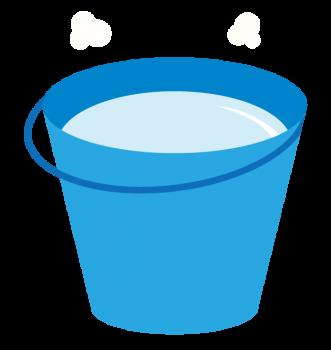 熱湯のバケツを用意する